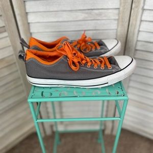 Gray Orange Lo Top Mens Converse Shoes Sz 10